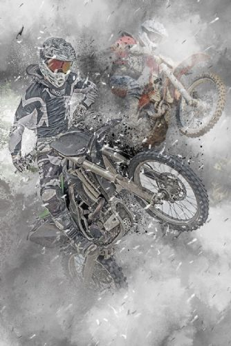 Motocross Extreme Sports  Canvas Framed Wall Art -15